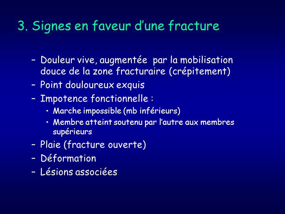 3. Signes en faveur d'une fracture