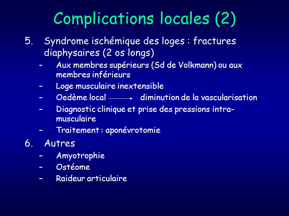 Complications locales (2)