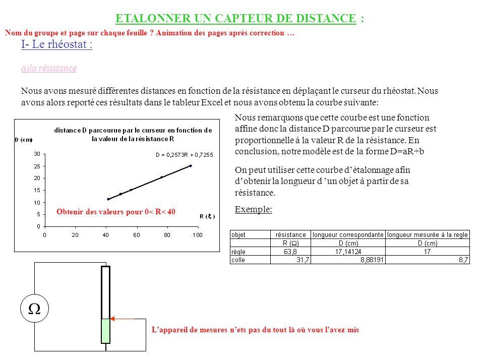 ETALONNER UN CAPTEUR DE DISTANCE :