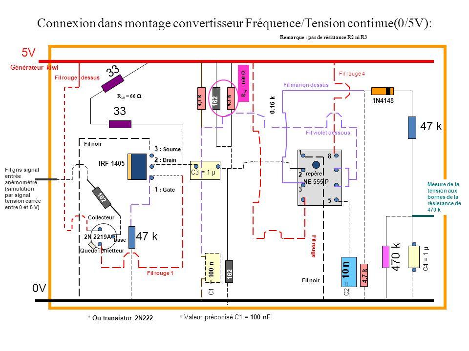 Connexion dans montage convertisseur Fréquence/Tension continue(0/5V):