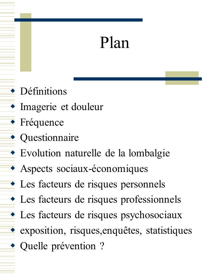 Plan Définitions Imagerie et douleur Fréquence Questionnaire