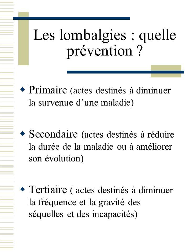Les lombalgies : quelle prévention