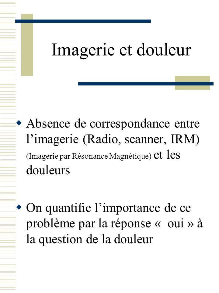 Imagerie et douleur Absence de correspondance entre l'imagerie (Radio, scanner, IRM) (Imagerie par Résonance Magnétique) et les douleurs.