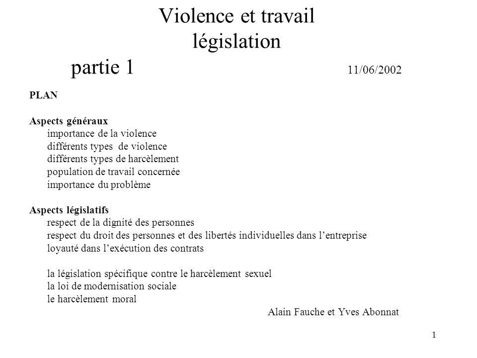 Violence et travail législation partie 1 11/06/2002