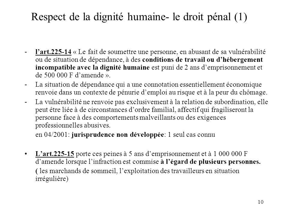 Respect de la dignité humaine- le droit pénal (1)