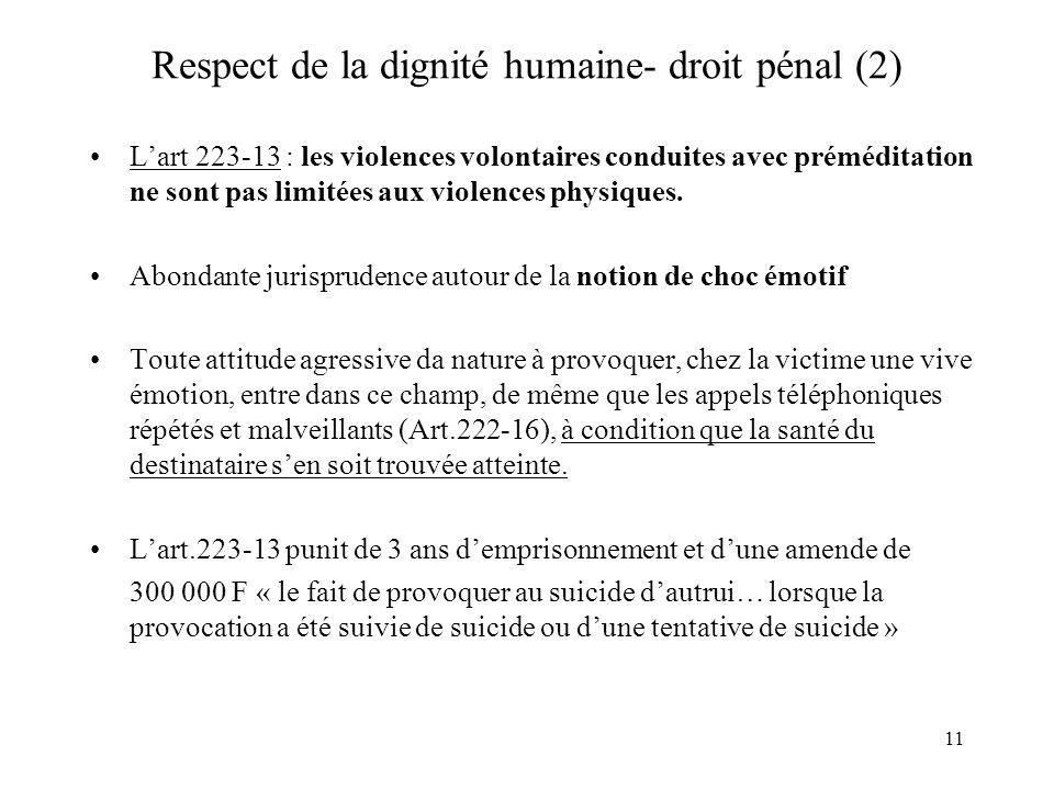 Respect de la dignité humaine- droit pénal (2)