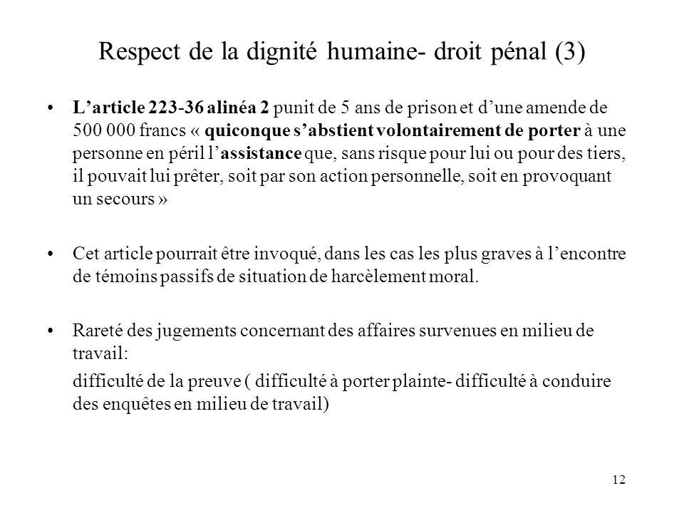 Respect de la dignité humaine- droit pénal (3)