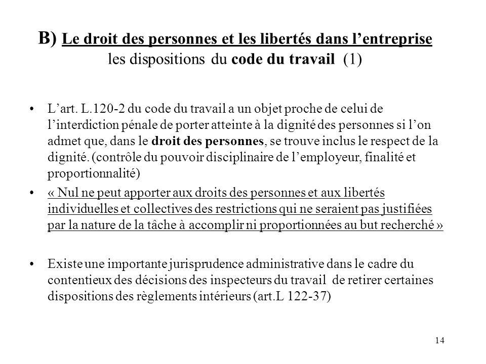 B) Le droit des personnes et les libertés dans l'entreprise les dispositions du code du travail (1)