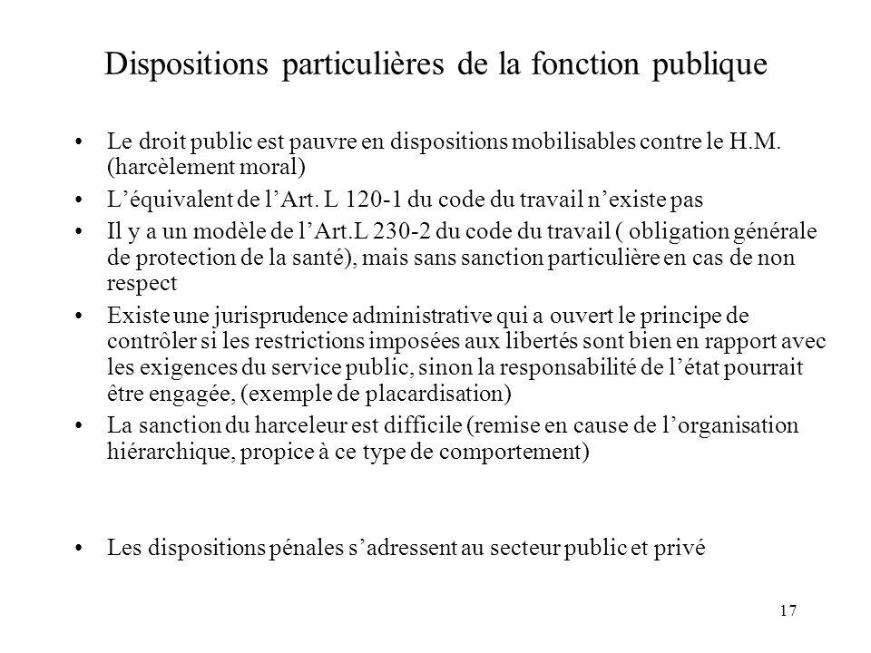 Dispositions particulières de la fonction publique