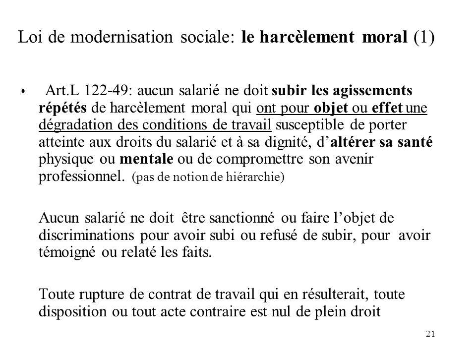 Loi de modernisation sociale: le harcèlement moral (1)
