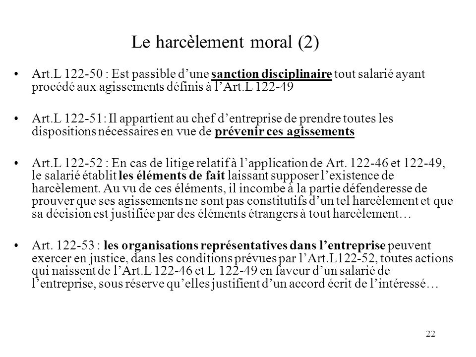 Le harcèlement moral (2)