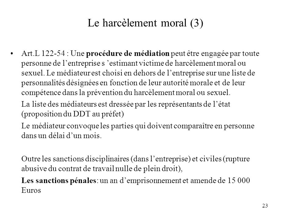 Le harcèlement moral (3)