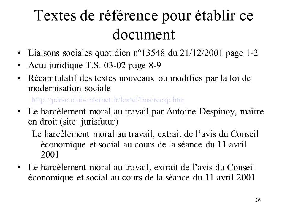 Textes de référence pour établir ce document