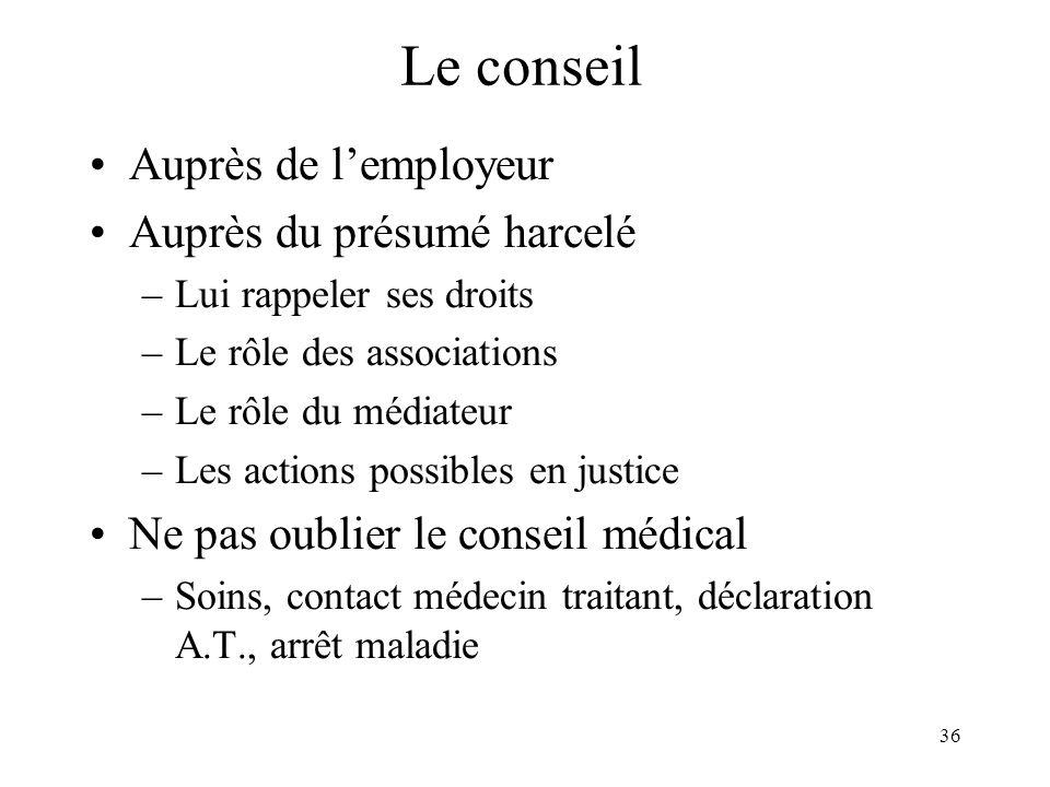 Le conseil Auprès de l'employeur Auprès du présumé harcelé