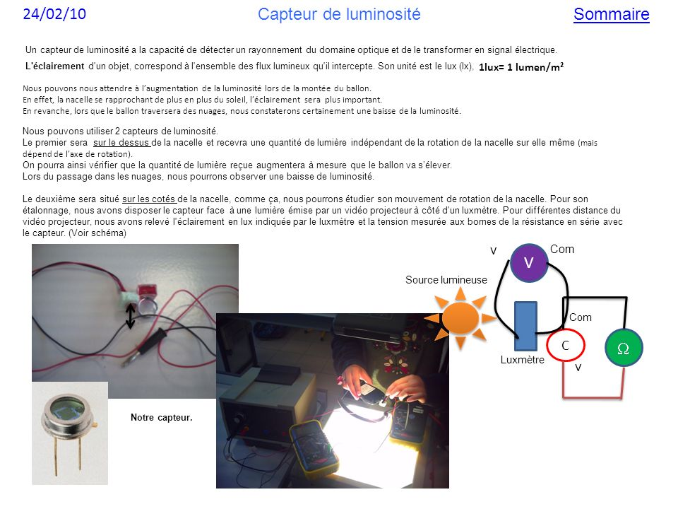 Capteur de luminosité 24/02/10 Sommaire V W C v v 1lux= 1 lumen/m² Com