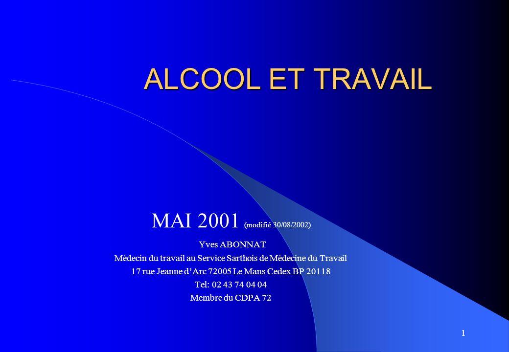 ALCOOL ET TRAVAIL MAI 2001 (modifié 30/08/2002) Yves ABONNAT