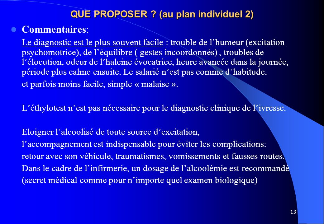 QUE PROPOSER (au plan individuel 2)