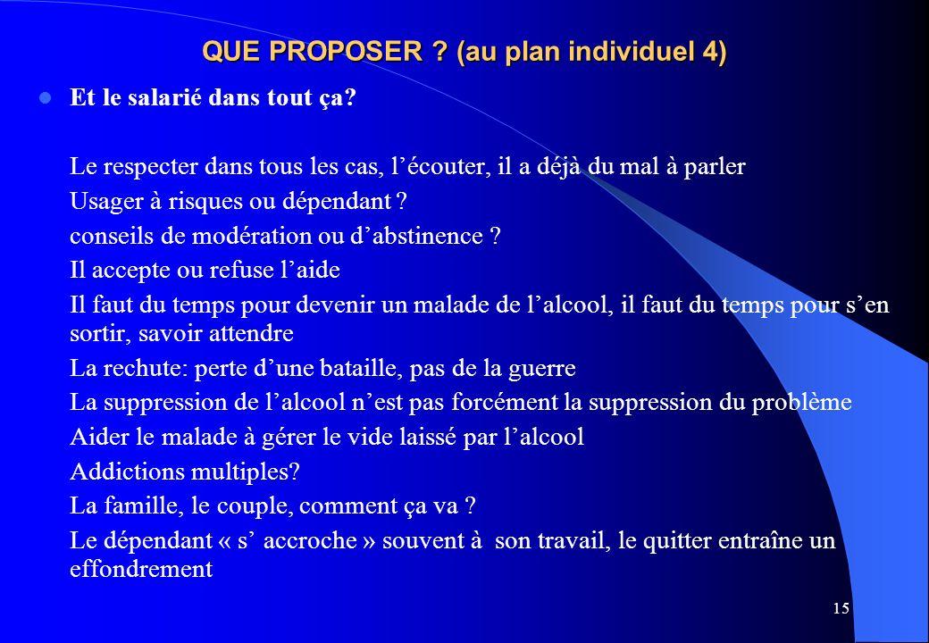 QUE PROPOSER (au plan individuel 4)