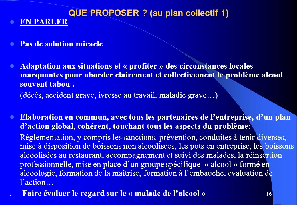 QUE PROPOSER (au plan collectif 1)
