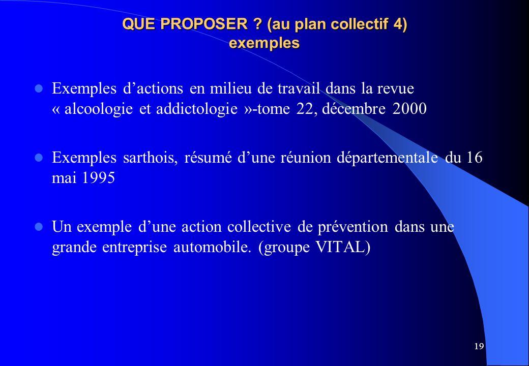 QUE PROPOSER (au plan collectif 4) exemples
