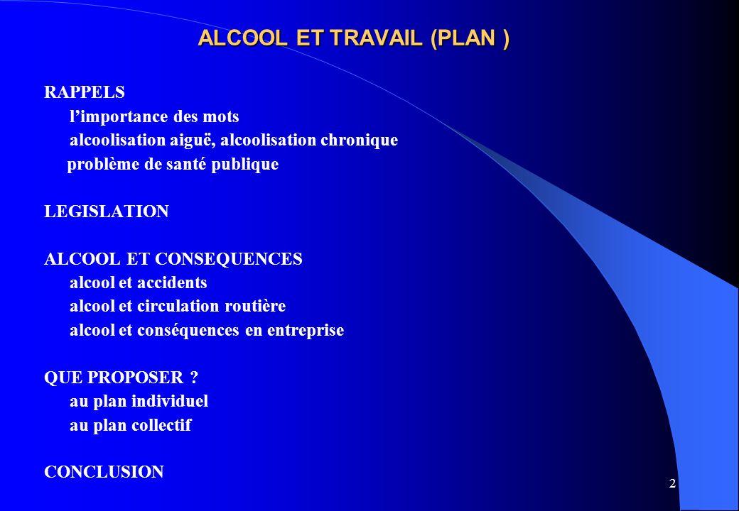 ALCOOL ET TRAVAIL (PLAN )