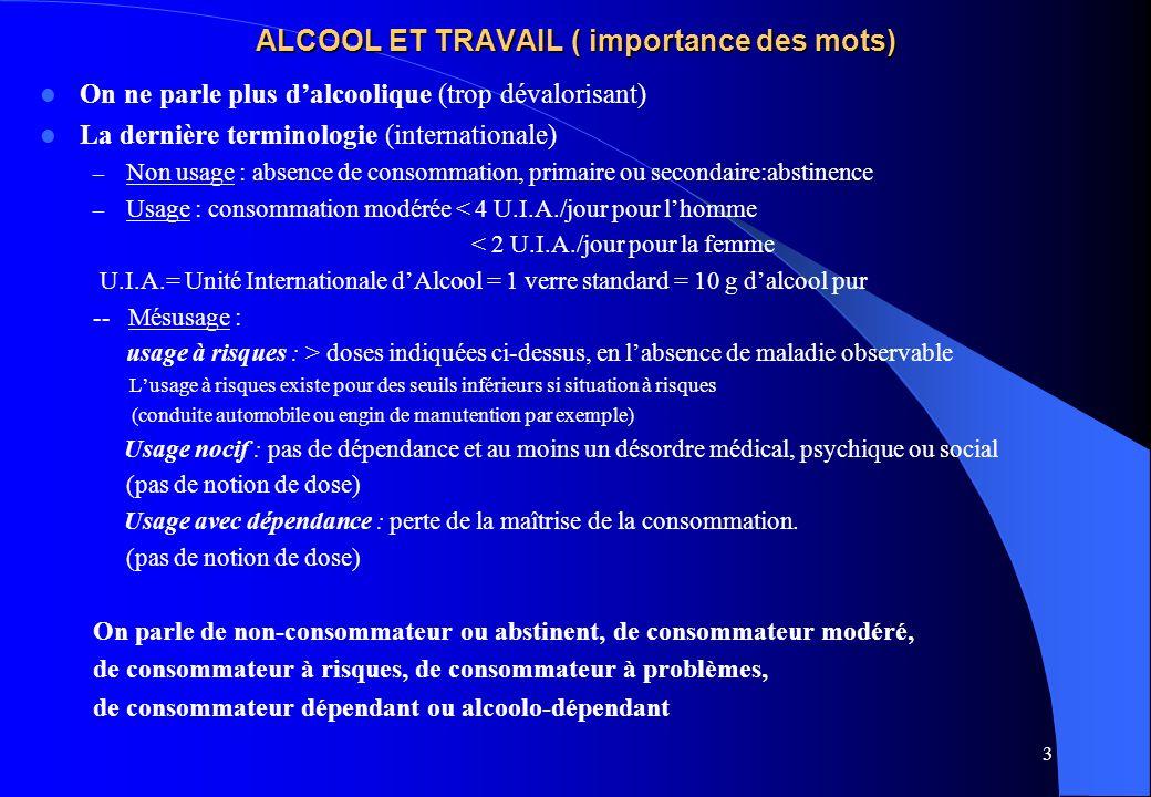 ALCOOL ET TRAVAIL ( importance des mots)
