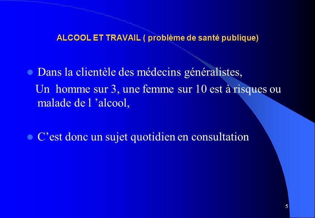 ALCOOL ET TRAVAIL ( problème de santé publique)