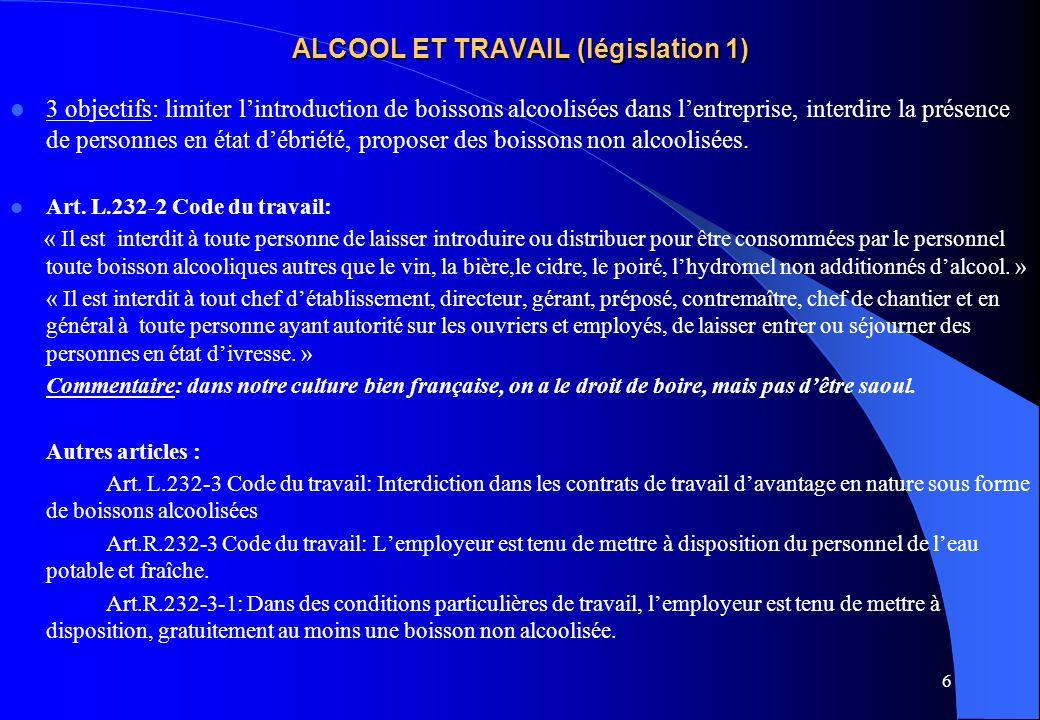 ALCOOL ET TRAVAIL (législation 1)