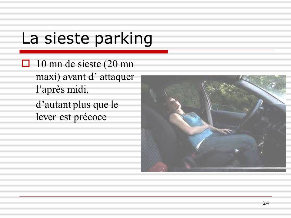 La sieste parking 10 mn de sieste (20 mn maxi) avant d' attaquer l'après midi, d'autant plus que le lever est précoce.