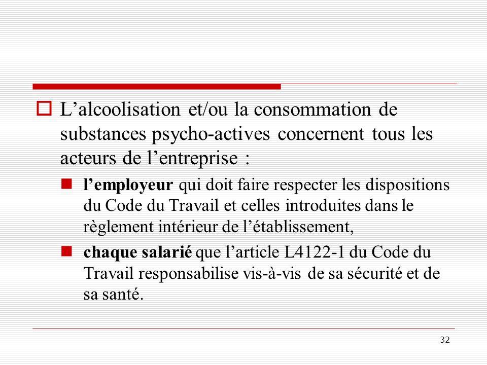 L'alcoolisation et/ou la consommation de substances psycho-actives concernent tous les acteurs de l'entreprise :