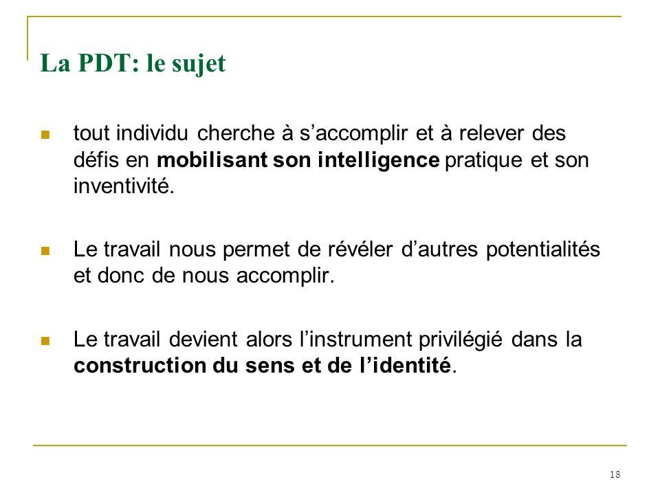 La PDT: le sujet tout individu cherche à s'accomplir et à relever des défis en mobilisant son intelligence pratique et son inventivité.