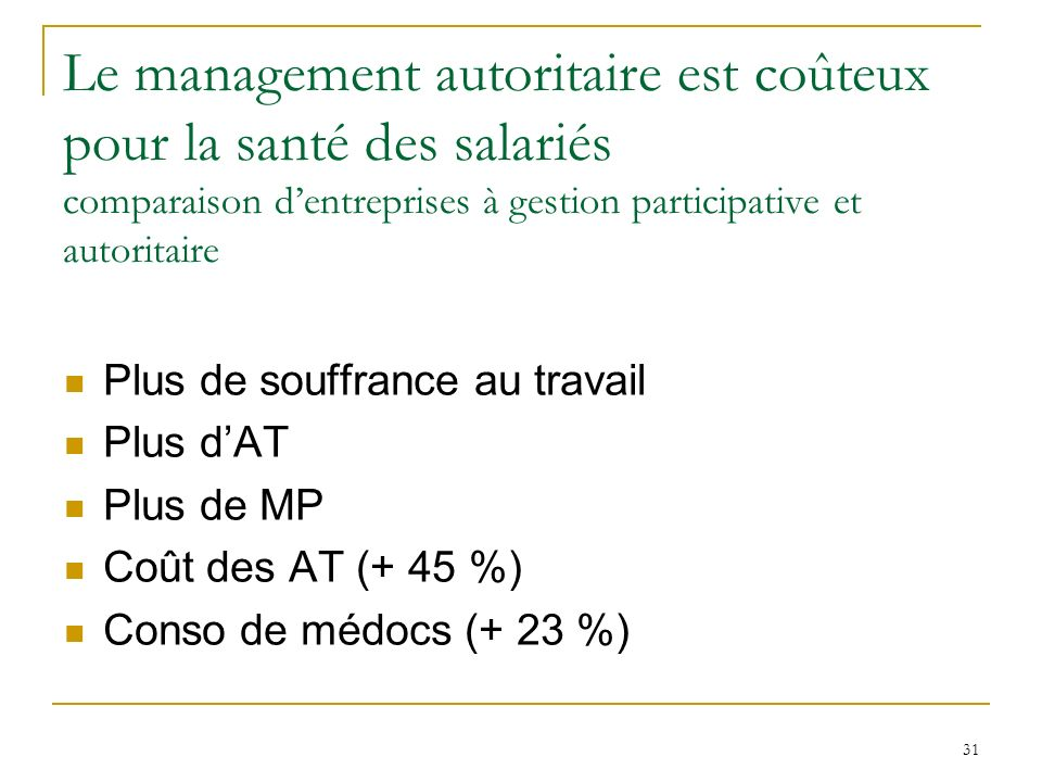 Le management autoritaire est coûteux pour la santé des salariés comparaison d'entreprises à gestion participative et autoritaire