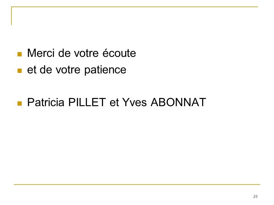 Merci de votre écoute et de votre patience Patricia PILLET et Yves ABONNAT
