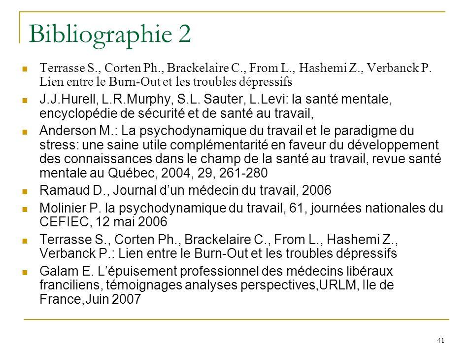 Bibliographie 2 Terrasse S., Corten Ph., Brackelaire C., From L., Hashemi Z., Verbanck P. Lien entre le Burn-Out et les troubles dépressifs.