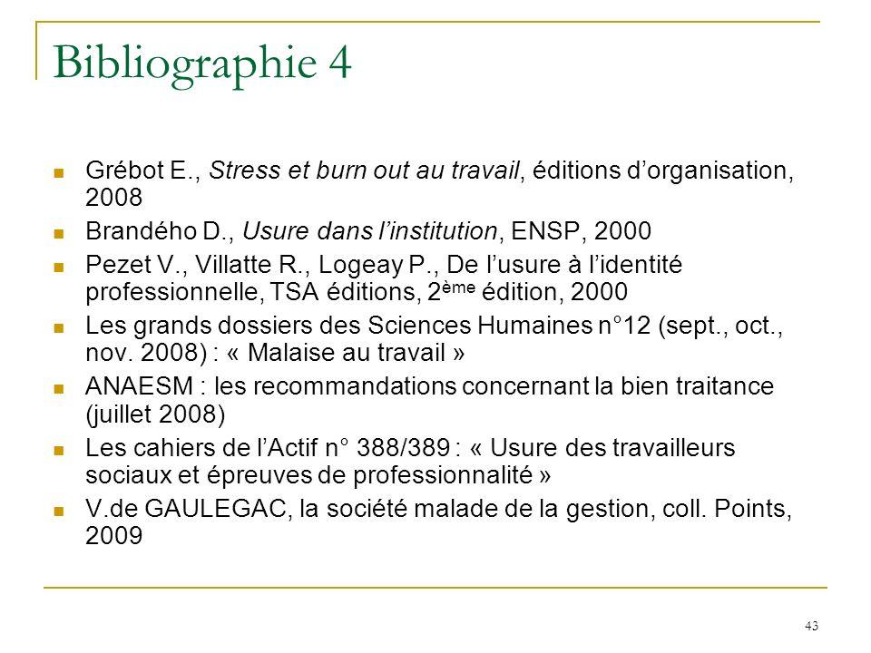 Bibliographie 4 Grébot E., Stress et burn out au travail, éditions d'organisation, 2008. Brandého D., Usure dans l'institution, ENSP, 2000.