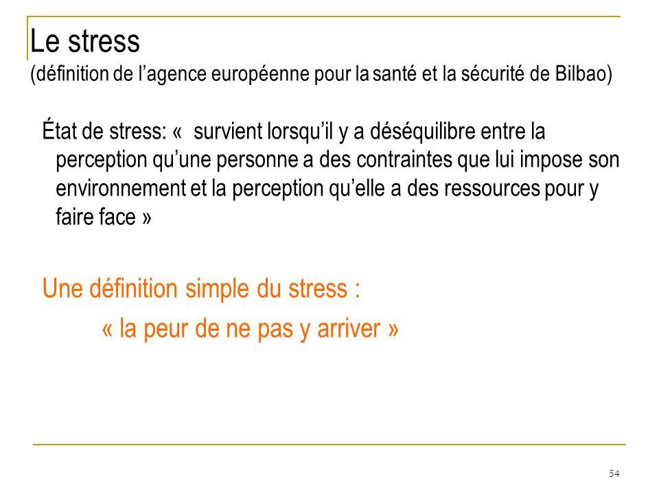 Le stress (définition de l'agence européenne pour la santé et la sécurité de Bilbao)