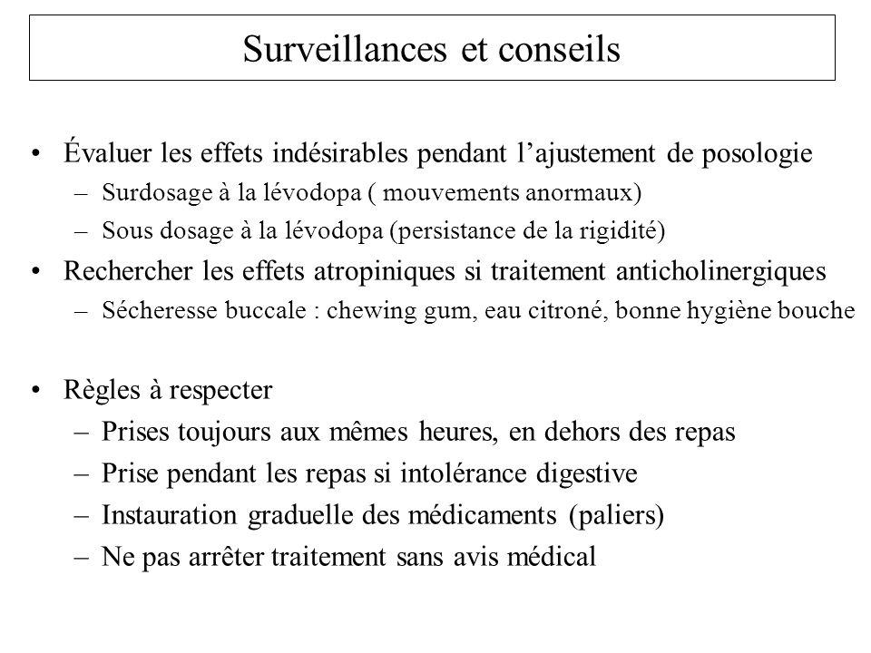 Surveillances et conseils