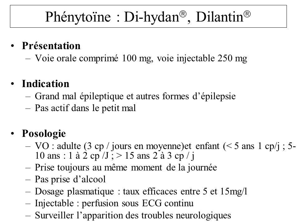 Phénytoïne : Di-hydan, Dilantin