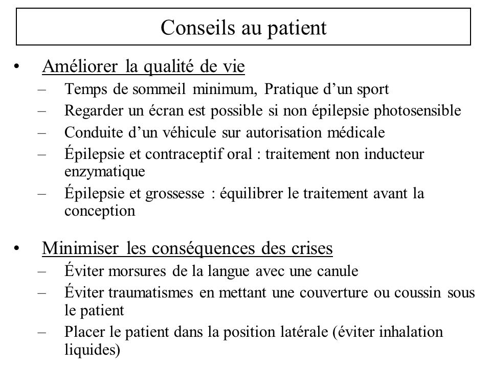 Conseils au patient Améliorer la qualité de vie