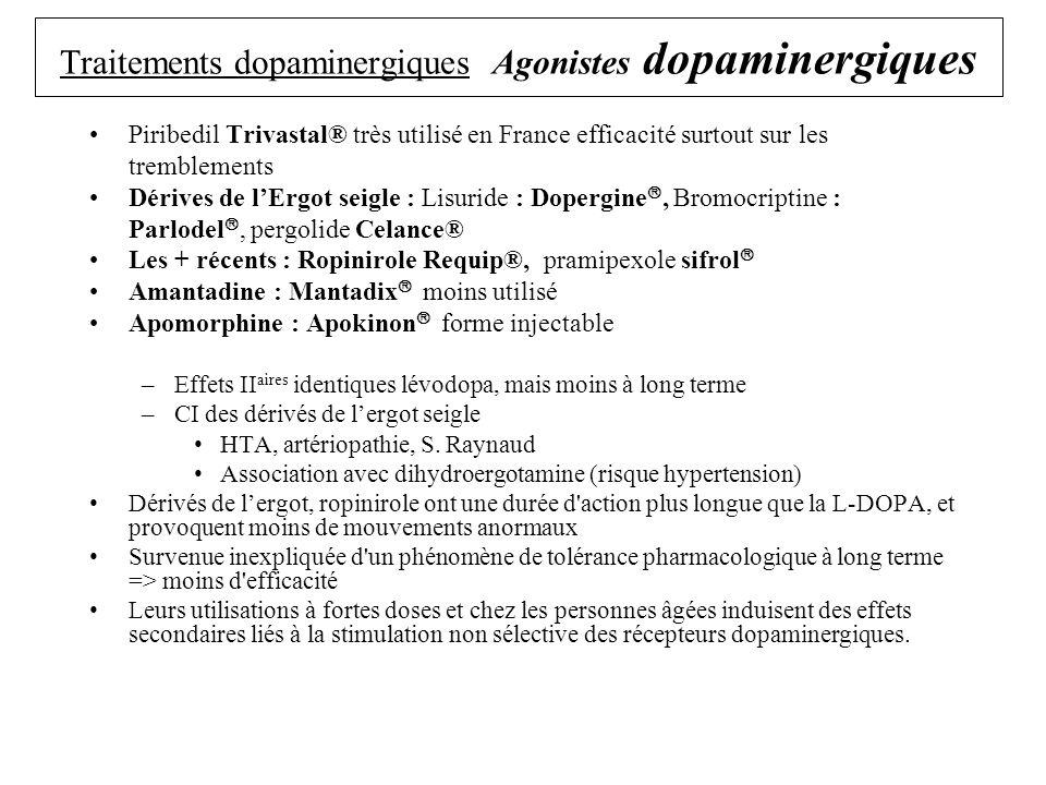 Traitements dopaminergiques Agonistes dopaminergiques