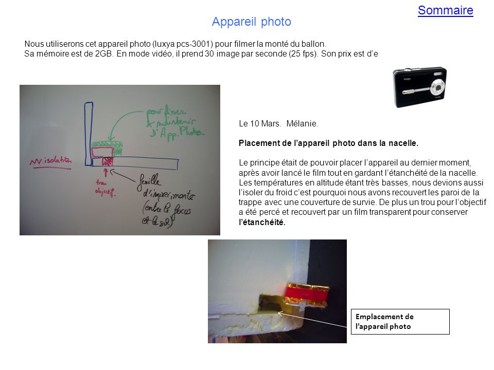 Sommaire Appareil photo