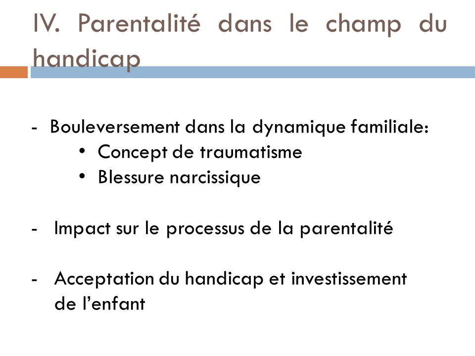 IV. Parentalité dans le champ du handicap