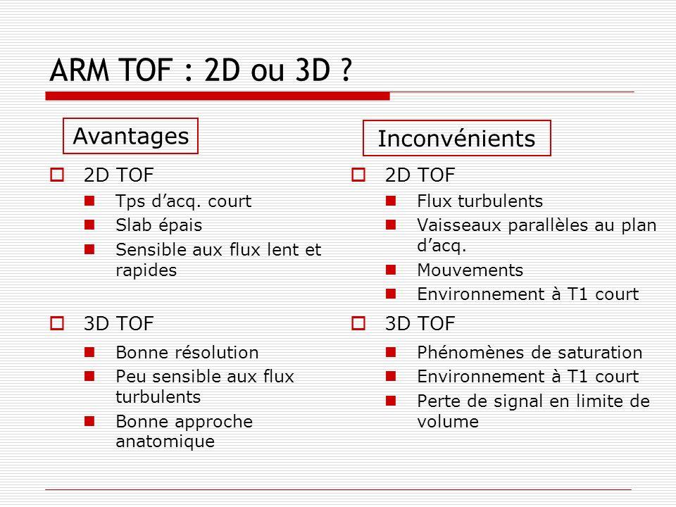ARM TOF : 2D ou 3D Avantages Inconvénients 2D TOF 3D TOF 2D TOF