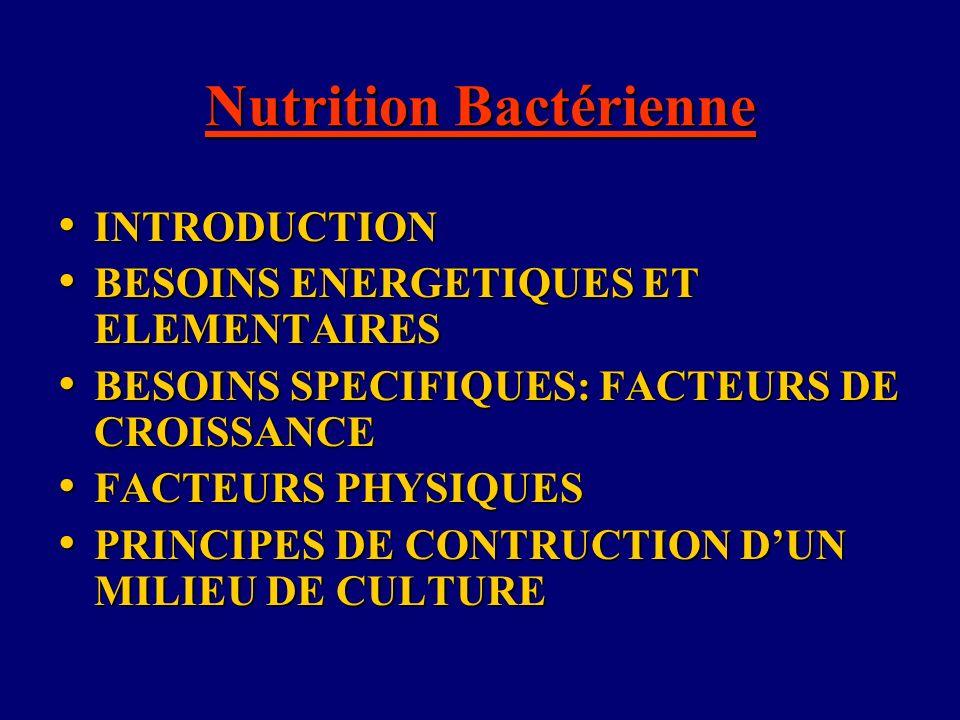 Nutrition Bactérienne