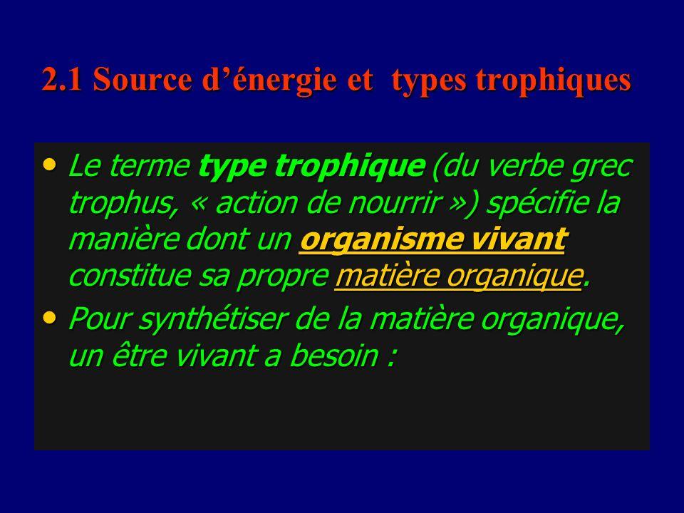 2.1 Source d'énergie et types trophiques