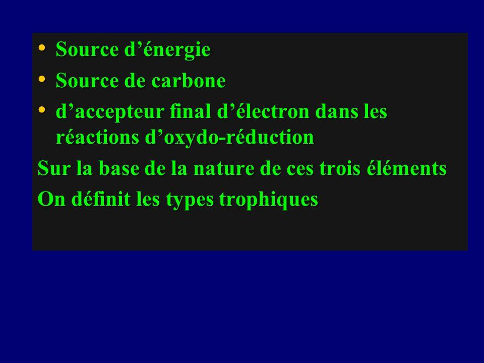 Source d'énergie Source de carbone. d'accepteur final d'électron dans les réactions d'oxydo-réduction.