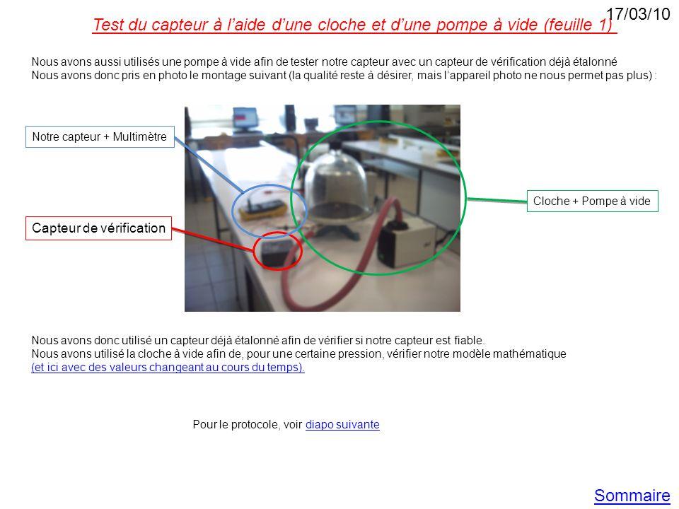 17/03/10 Test du capteur à l'aide d'une cloche et d'une pompe à vide (feuille 1)