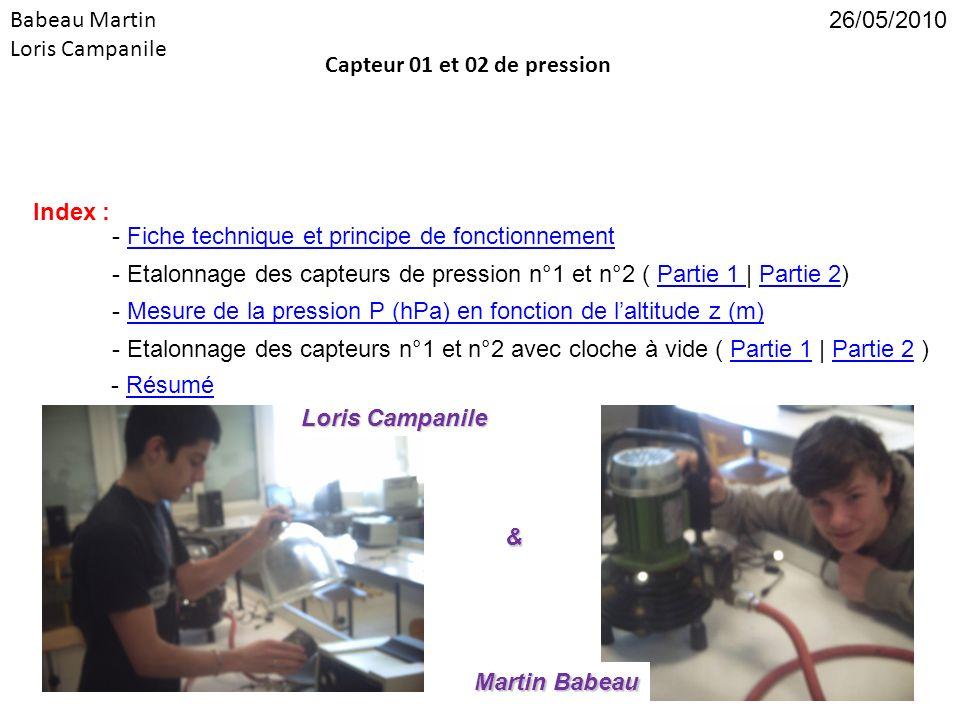 Babeau Martin Loris Campanile. 26/05/2010. Capteur 01 et 02 de pression. Index : - Fiche technique et principe de fonctionnement.