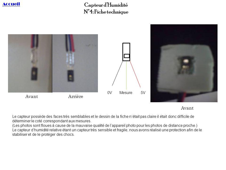 Capteur d'Humidité N°4: Fiche technique