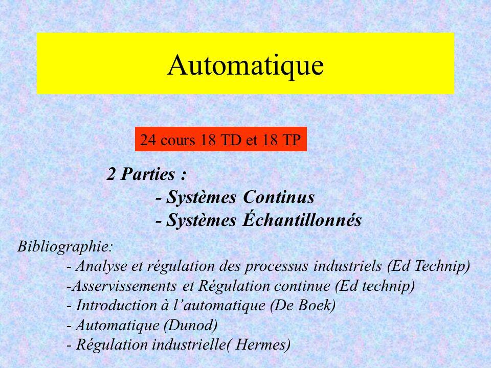 Automatique 2 Parties : - Systèmes Continus - Systèmes Échantillonnés